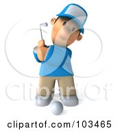 3d Golfer Toon Guy Facing Front And Swinging A Club