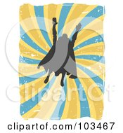 Royalty Free RF Clipart Illustration Of A Silhouetted Flying Super Hero Over Grungy Blue And Yellow Swirls by mheld