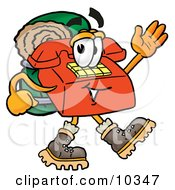 Clipart Picture Of A Red Telephone Mascot Cartoon Character Hiking And Carrying A Backpack