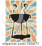 Royalty Free RF Clipart Illustration Of A Silhouetted Charcoal BBQ Over Swirls by mheld