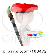 Royalty Free RF Clipart Illustration Of A 3d White Artist Icon With A Paint Palette And Brush