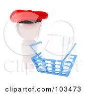 Royalty Free RF Clipart Illustration Of A 3d White Artist Icon Blank Canvases In A Shopping Basket by Leo Blanchette