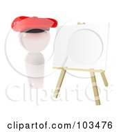 3d White Artist Icon With A Blank Canvas On An Easel