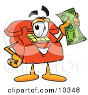 Clipart Picture Of A Red Telephone Mascot Cartoon Character Holding A Dollar Bill