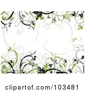 Royalty Free RF Clipart Illustration Of Green And Black Leafy Vines Framing A White Background