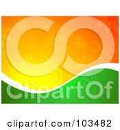 Royalty Free RF Clipart Illustration Of A Half Green Half Orange Floral Background Divided By White by KJ Pargeter