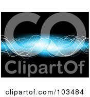 Royalty Free RF Clipart Illustration Of A Glowing Electric Blue Wave Over Black by KJ Pargeter