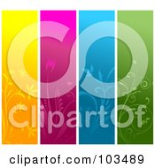 Royalty Free RF Clipart Illustration Of A Digital Collage Of Four Colorful Vertical Website Banners by KJ Pargeter