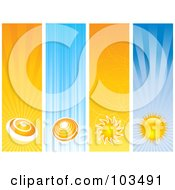 Royalty Free RF Clipart Illustration Of A Digital Collage Of Four Vertical Sun Website Banners by KJ Pargeter