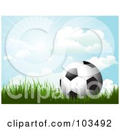 Royalty Free RF Clipart Illustration Of A Soccer Ball On Grass Under A Sunny Blue Sky by KJ Pargeter