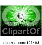 Royalty Free RF Clipart Illustration Of A Soccer Fan Crowd Waving Flags Under A Shining Soccer Ball Over Green by KJ Pargeter