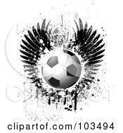 Royalty Free RF Clipart Illustration Of A Shiny Soccer Ball Over Grungy Black Wings Splatters Drips And Halftone On White by KJ Pargeter