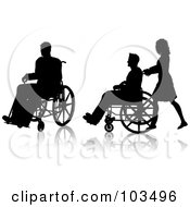 Royalty Free RF Clipart Illustration Of A Digital Collage Of A Man Sitting In A Wheelchair And A Nurse Pushing A Man In A Wheelchair by KJ Pargeter