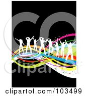 Royalty Free RF Clipart Illustration Of White Dancing People Silhouettes Dancing On Colorful Waves Over Black