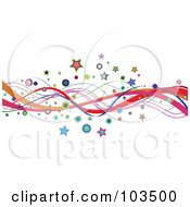 Royalty Free RF Clipart Illustration Of A Border Or Colorful Wavy Lines Stars And Circles On White by KJ Pargeter