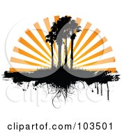 Royalty Free RF Clipart Illustration Of Orange Sunset Rays Silhouetting Palm Trees And Grass With Dripping Grunge
