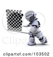 Royalty Free RF Clipart Illustration Of A 3d Silver Robot Waving A Checkered Racing Flag by KJ Pargeter