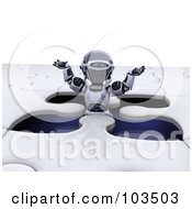 Poster, Art Print Of 3d Silver Robot Standing In An Open Space Of A Jigsaw Puzzle