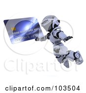Royalty Free RF Clipart Illustration Of A 3d Silver Robot Leaping With A Credit Card by KJ Pargeter