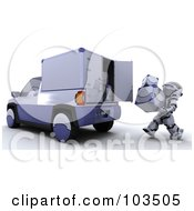 Royalty Free RF Clipart Illustration Of A 3d Silver Robot Loading Metal Boxes Into A Truck