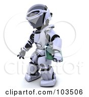 Royalty Free RF Clipart Illustration Of A 3d Silver Robot Carrying A Green Folder