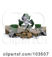 Royalty Free RF Clipart Illustration Of A 3d Silver Robot With Recycle Arrows Standing Behind Trash Bins And Cardboard Boxes by KJ Pargeter