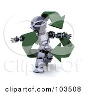 3d Silver Robot Walking With Green Recycle Arrows
