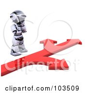 3d Silver Robot Standing At A Fork In A Red Arrow Path