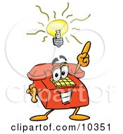 Clipart Picture Of A Red Telephone Mascot Cartoon Character With A Bright Idea