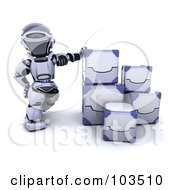 Royalty Free RF Clipart Illustration Of A 3d Silver Robot Leaning On Metal Boxes by KJ Pargeter