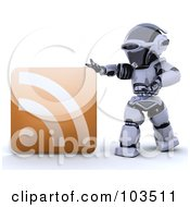 Royalty Free RF Clipart Illustration Of A 3d Silver Robot Touching A Large RSS Symbol