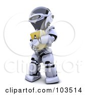 Royalty Free RF Clipart Illustration Of A 3d Silver Robot Carrying A Yellow Folder