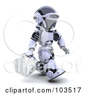 Royalty Free RF Clipart Illustration Of A 3d Silver Robot Walking With A Shopping Basket
