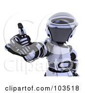 Royalty Free RF Clipart Illustration Of A 3d Silver Robot Waving A Finger