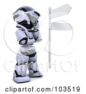 3d Silver Robot Thinking At A Crossroads