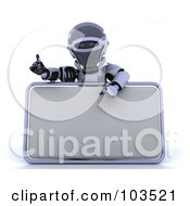Royalty Free RF Clipart Illustration Of A 3d Silver Robot Pointing To And Presenting A Blank Sign
