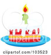 Lit Candle On A Slice Of Birthday Cake On A Blue Plate