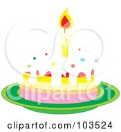 Lit Candle On A Slice Of Birthday Cake On A Green Plate