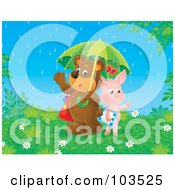 Royalty Free RF Clipart Illustration Of A Friendly Pig And Bear Students Sharing An Umbrella On A Rainy Spring Day by Alex Bannykh