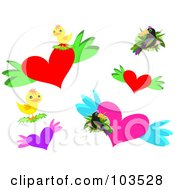 Royalty Free RF Clipart Illustration Of A Digital Collage Of Hearts Toucans And Chicks by bpearth