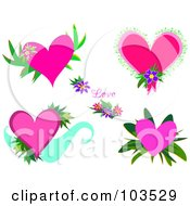 Royalty Free RF Clipart Illustration Of A Digital Collage Of Pink Hearts And Flowers by bpearth
