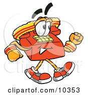 Clipart Picture Of A Red Telephone Mascot Cartoon Character Speed Walking Or Jogging