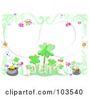 Royalty Free RF Clipart Illustration Of A Shamrock Flower Gold And Insect Border by bpearth