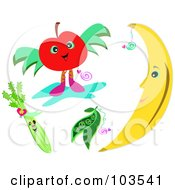 Royalty Free RF Clipart Illustration Of A Digital Collage Of Happy Foods by bpearth