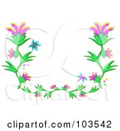 Royalty Free RF Clipart Illustration Of A Blue Butterfly Dragonfly And Flowering Vine Border