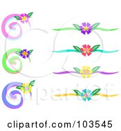 Royalty Free RF Clipart Illustration Of A Digital Collage Of Floral Swirls And Dividers