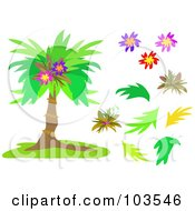 Royalty Free RF Clipart Illustration Of A Digital Collage Of A Palm Tree With Foliage And Flowers by bpearth