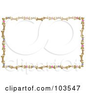 Royalty Free RF Clipart Illustration Of A Border Of Dog Bone Biscuits And Flowers