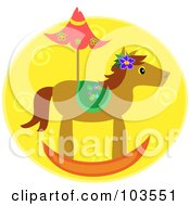 Royalty Free RF Clipart Illustration Of A Rocking Horse And Umbrella by bpearth