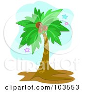 Royalty Free RF Clipart Illustration Of A Coconut Palm Tree With Stars by bpearth